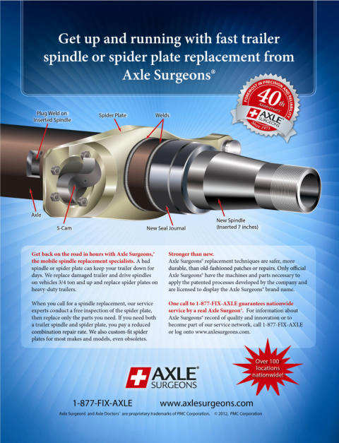 Get up and running with fast trailer spindle or spider plate replacement from Axle Surgeons