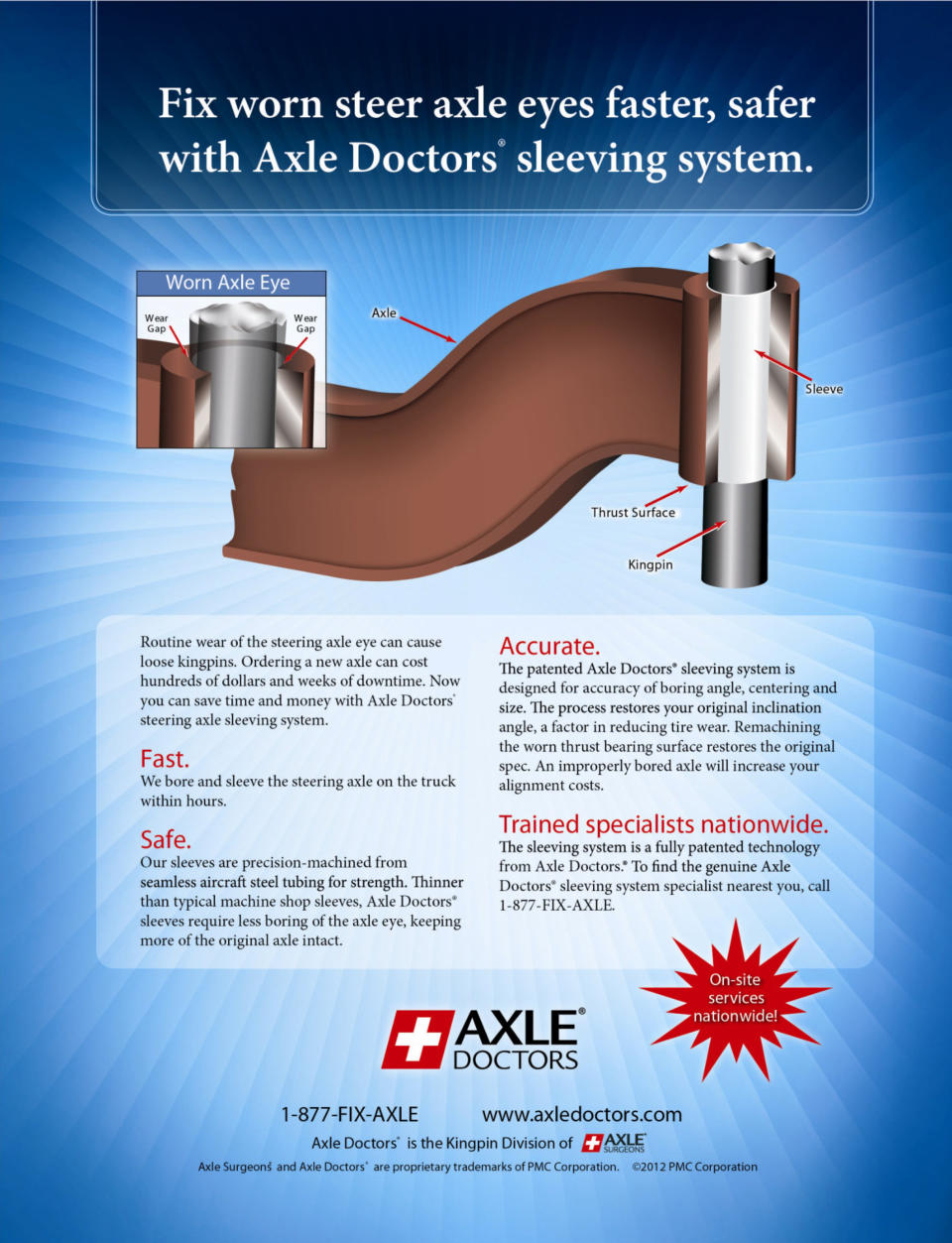 Fix worn steer axle eyes faster and safer with Axle Doctors sleeving system